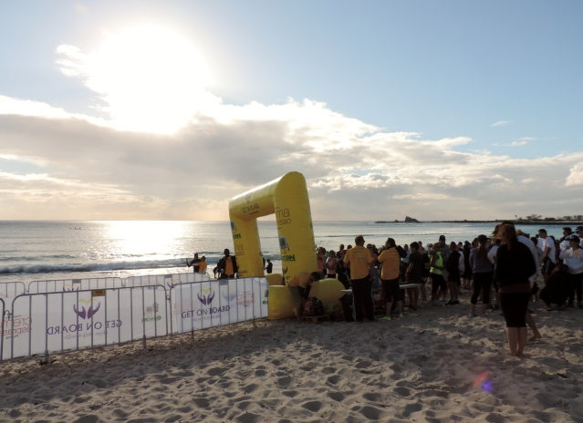 The scene looks perfect at the start line but it was windy and cold.