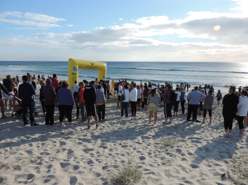 Contestants waiting to begin at 8am Sunday 3rd August at Palm Beach.
