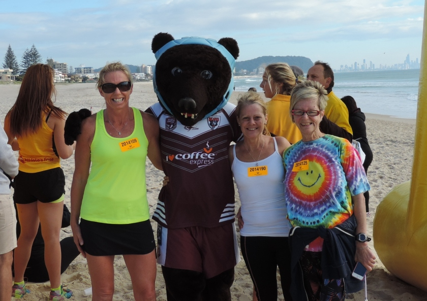 Sharon, Beefa Bear, Me and Sue at the finish line. 5km in under 30 mins, not bad against the wind with our eyes watering.