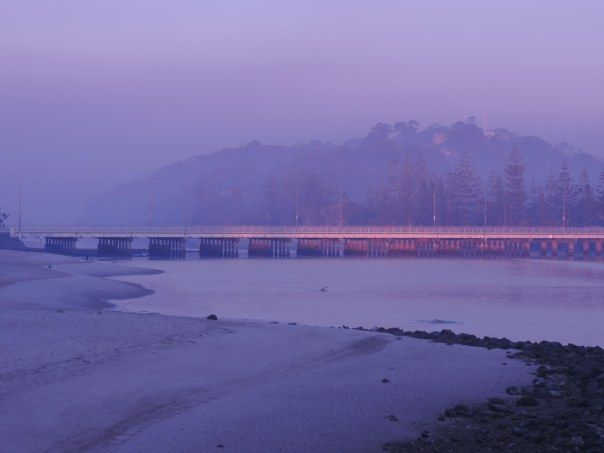 Mist over Tallebudgera Creek Bridge.