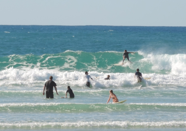 Swimmers and surfers don't care if it's winter. The water is clear and not too cold at Currumbin Alley.