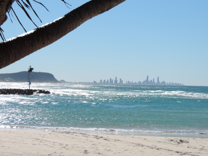 Currumbin Alley facing Palm Beach, with the skyline of Surfers Paradise in the background.