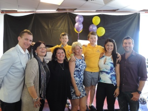 The Get On Board family with Blair Tonkin from MKR.