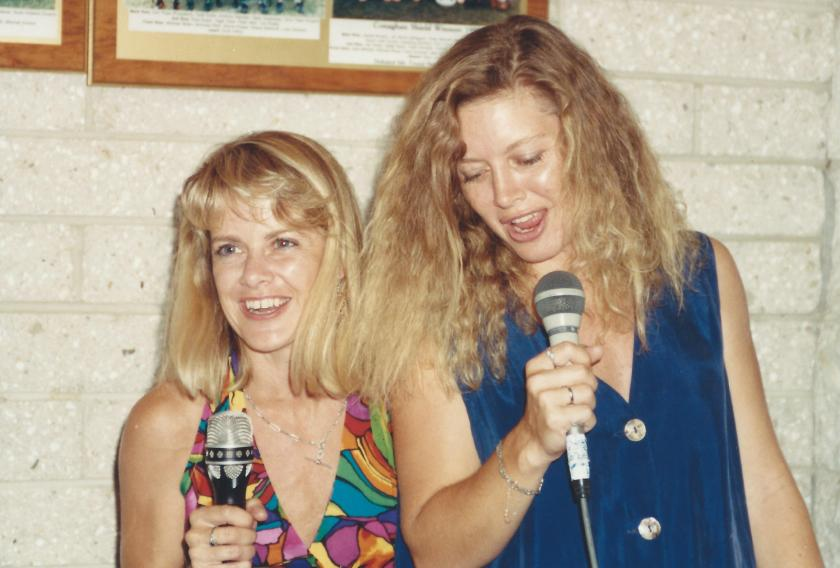 One of my favourite photos of myself and Karen singing karaoke about twenty years ago (note the hair).