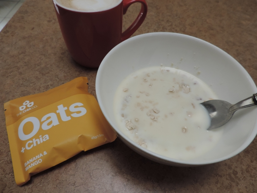 My new favourite breaky. Just add water, cook in microwave if you want it hot (1 min) add a little protein and milk and enjoy.