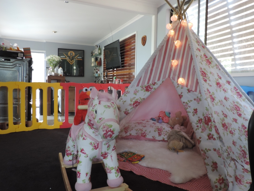 Larabella's rocking horse and teepee.