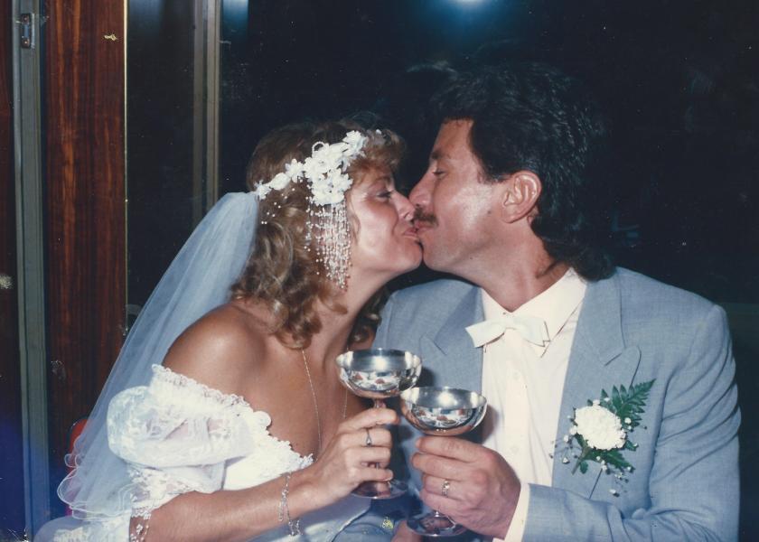 A wedding kiss, 25 years ago.