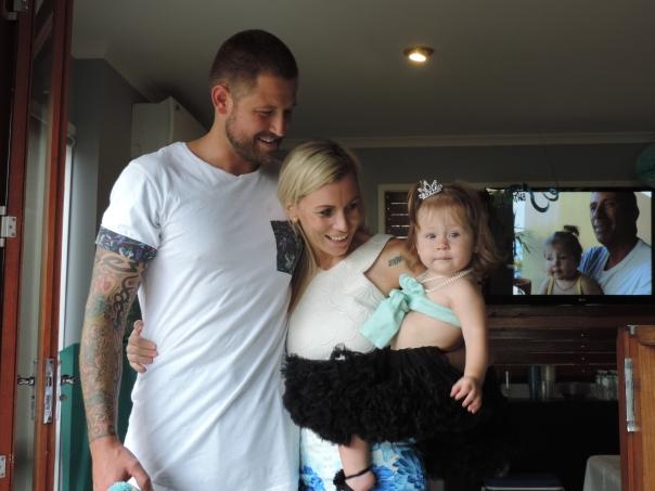 Kris, Elise and Larabella on Larabella's first birthday party.