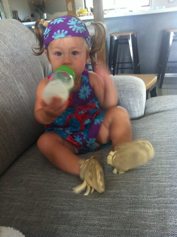 Larabella in hippy outfit from Eumundi Markets, Sunshine Coast, Qld. Age 14 months.