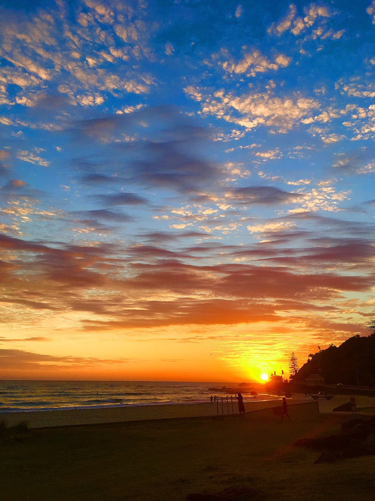 Sunrise over the Pacific Ocean at Kirra Point, Queensland, Australia.