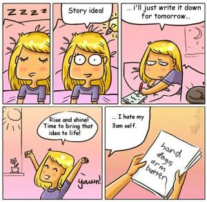 writers, cartoon, funny writing, forgetting ideas