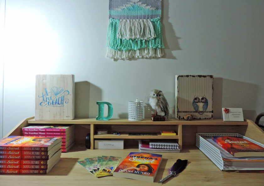 Writing desk, author, writing spaces